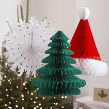 three christmas honeycomb hanging decorations by ginger ray