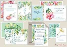 hawaiian themed wedding invitations hawaii tropical watercolor botanical wedding invitations