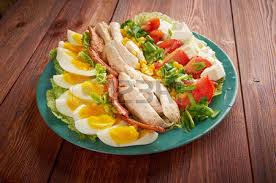 Bacon Main Dishes - cobb salad colorful hearty entree sized salad with bacon