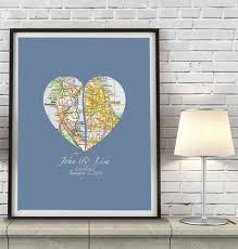 Chicago Map Wall Art by Custom Wedding Heart Maps Couples Art Print Wedding Gift