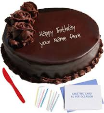 order send midnight online birthday cakes n greeting card combo
