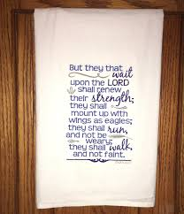 Family Home Decor Embroidered Scripture Flour Sack Kitchen Dish Towel Isaiah 30 41