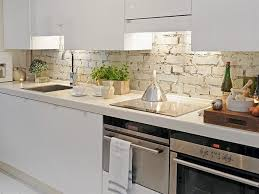 Faux Brick Backsplash In Kitchen Cabinets U0026 Storages Amazing Modern Stylish Mirrored Backsplash