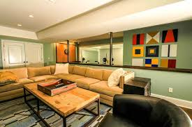 drywall wall designs with wood and steel coffee table basement