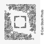 balinese ornament frame 2d blank frame with flora vectors