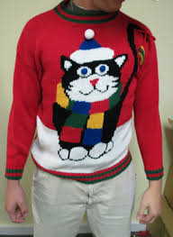 best in show mega huge cat hilarious ugly christmas sweater mens m