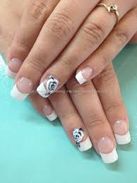 white tips with one stroke freehand rose nail art peinados