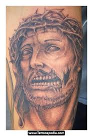 injured jesus sleeve tattoo real photo pictures images and