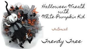 Halloween Wreath Tutorial by 2017 Halloween Wreath With White Pumpkin Kid Tutorial Youtube
