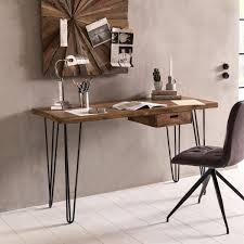 Pc Schreibtisch Mit Aufsatz Finebuy Schreibtisch Haora Braun 130 X 60 X 76 Cm Massiv Holz