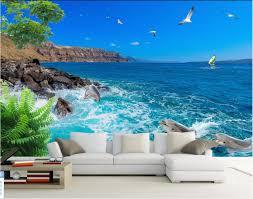 dolphin home decor 3d wallpaper custom mural photo blue sky the sea dolphin painting