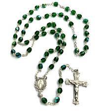 bohemian glass birthstone rosary emerald may the catholic