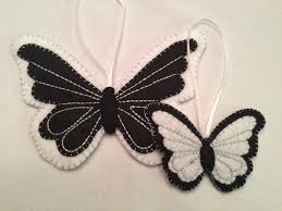 butterfly felt ornament set black white with silver 2