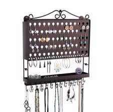 earring necklace organizer images Jewelry organizer wall mount earring holder and necklace rack jpg