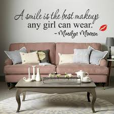 quote to decorate a room living room wall sticker marilyn monroe quote decal a smile is the