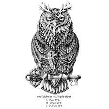 great horned owl wall sticker decal u2013 ornate bird animal art by