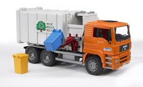 amazon com bruder toys man side loading garbage truck orange