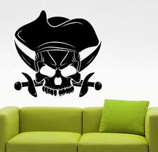compare prices on pirate wall murals online shopping buy low pirate skull cool silhouette wall sticker art designed wall mural home livingroom handsome modern decor art
