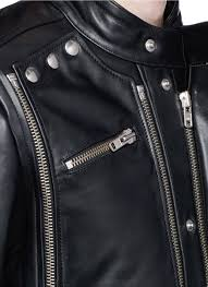 padded leather motorcycle jacket faith connexion removable overlay front padded leather jacket in