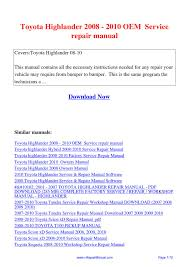 toyota highlander 2008 2010 oem service repair manual pdf by david