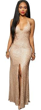 gold party dress women sleeve v neck sequin split bodycon cocktail party