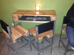 simple desk u0026 chairs made of pallet wood and angle iron