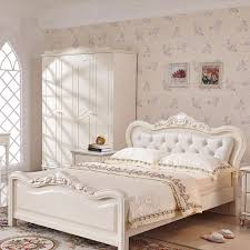french luxury bed ivory white flannel real wood bed european style