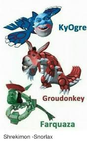 Snorlax Meme - kyogre groudonkey farquaza shrekimon snorlax meme on sizzle
