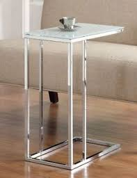 C Side Table C Shaped Side Table Glass Top Silver Chrome Modern Style Living