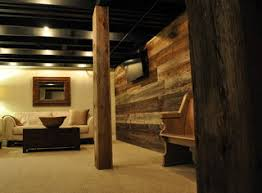 Rustic Basement Ideas Painted Basement Ceiling And Rustic Post Cover Basement Fix Up