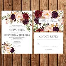 wedding invitations burgundy bohemian wedding invitation fall wedding invite purple