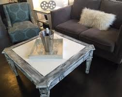 White Distressed Wood Coffee Table Black Coffee Table Etsy