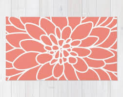Coral Area Rugs Coral Rug Etsy