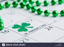 st patrick u0027s day marked with shamrock in calendar stock photo