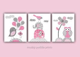 Gray Elephant Nursery Decor by Pink And Grey Nursery Decor Nursery Art Nursery Prints