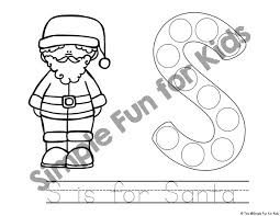 6 santa dot marker coloring pages simple fun kids