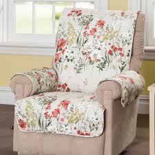 floral meadow furniture protector off white recliner wing chair