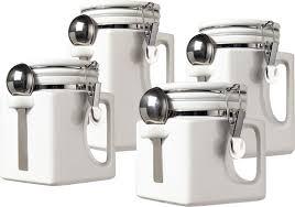 white canister sets kitchen oggi 4 white ceramic canister set 5336 1