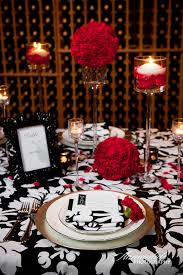 black and red table settings silver wedding anniversary decorating
