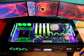 gaming computer desk excellent pc gaming computer set up with liquid cooled computer