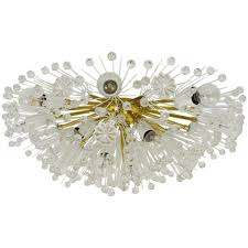 Crystal Flush Mount Lighting Emil Stejnar Austrian Emil Stejnar Brass Crystal Flush Mount Or