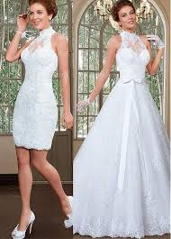 wedding dress with detachable xh 127 sale high neck lace sheath wedding dresses 2017
