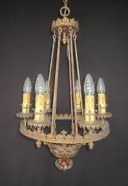 Tudor Chandelier Large Revival Chandelier C 1920s Rewired Tudor