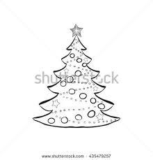 abstract christmas tree illustration hand drawn stock illustration