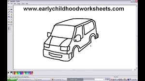 jeep cartoon drawing how to draw van car easy step by step for kindergarten kids youtube