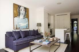 Living Room With Purple Sofa Purple Sofa Contemporary Living Room Denai Kulcsar Interiors