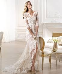 2014 new arrival vintage v neck high low lace wedding dresses