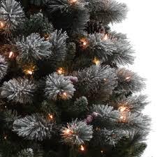 lightly flocked christmas tree d b 6 5 pre lit flocked buchanan pine christmas tree sears