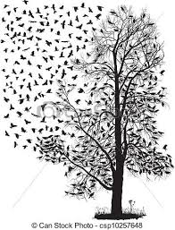 crows fly away from the tree vector illustration of the eps
