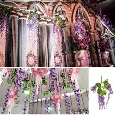 decorative wreaths for the home 24pcs artificial hanging flower silk wisteria plants artificial
